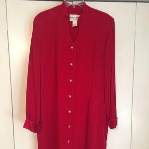 Deep red coat dress with rhinestone detail